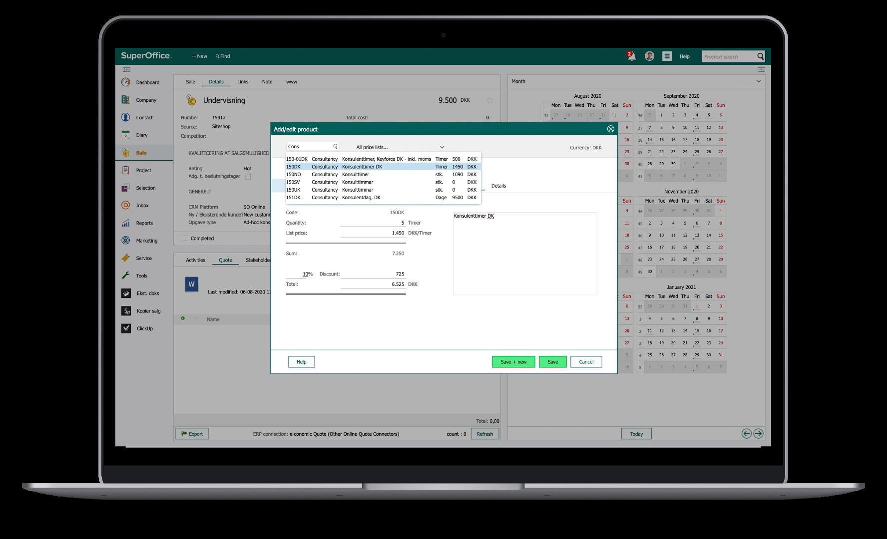 Opret tilbud i SuperOffice med varer og priser fra e·conomic
